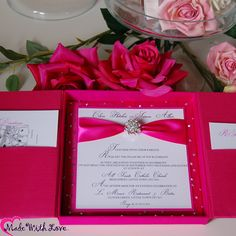 A Sample Luxe Wedding Invitations for a Russian Bride who's brief is over the top, bling and PINK. She loves them & her guests will be wowed. She asked for tacky, but we convinced her that bling can also be tasteful. Boxes studded with Swarovski crystals. £24.95 each min order 50. Soooo many colours available.