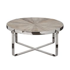 Coffee table made with reclaimed wood and polished aluminum.  Available at Natural Kitchen and Home.