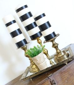 washi tape striped candles, crafts, how to, repurposing upcycling