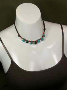 Turquoise and Leather Beaded Necklace  by StoneWearDesigns