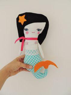 Little Mermaid Plush Mermaid Aqua Orange Pink by TashiBear on Etsy, $34.00