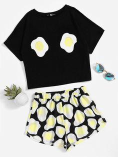 #MakeMeChic - #MAKEMECHIC Fried Egg Print Top With Shorts Pajama Set - AdoreWe.com