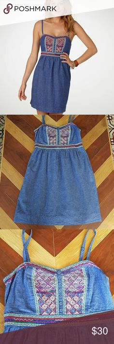 American Eagle Summer Dress Cotton/linen colorful summer dress. Light weight and comfortable. Embroidered chest detail. Adjustable straps. Fitted back. Excellent used condition. American Eagle Outfitters Dresses Mini