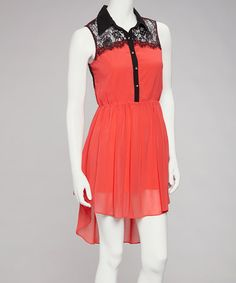 Take a look at this Coral Lace Sheer Hi-Low Dress by Love Point on #zulily today! $24.99, regular 56.00