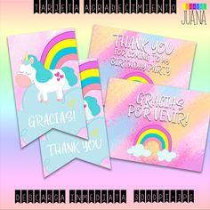 Set Cumpleaños Unicornio -Tarjeta Agradecimiento Set Party- Descarga Instantánea-Set Imprimible