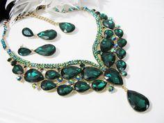 Emerald Green Bridal Statement Necklace Set Wedding Jewelry Set earrings  Necklace Rhinestone Necklace chunky necklace Bridal Necklace by weddingswithflair on Etsy