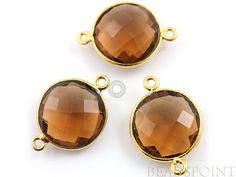 Natural Whisky Topaz  Bezel COIN Shape Gemstone by Beadspoint, $7.99