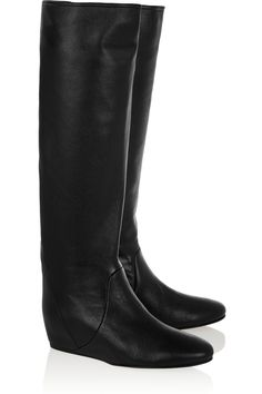 save off 557ac 721f3 Lanvin - Textured-leather wedge knee boots