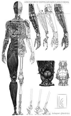 Concept schematics of a cyborg ninja. What Is Cyberpunk, Arte Cyberpunk, Cyberpunk 2077, Cyberpunk Aesthetic, Arte Robot, Robot Art, Gato Anime, Robot Concept Art, Futuristic Cars