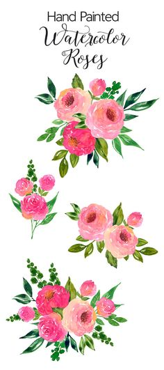 Watercolour Flower Clip Art - Hand Painted Watercolor Roses, Pink Flower Bouquet…