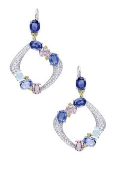 14K White Gold Pave Diamond & Mixed Gem Organic Square Earrings by Red Carpet Ready: Fine Jewels on @HauteLook