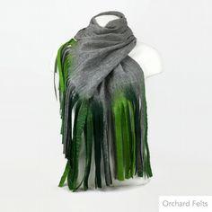 Wet felted lightweight, long merino wool grey scarf with green tassels £45.00