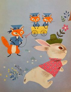 Alice & Martin Provensen — Illustration for 'Funny Bunny Book', Old Children's Books, Vintage Children's Books, Vintage Cards, Fuchs Illustration, Children's Book Illustration, Book Illustrations, Illustration Children, Alice Martin, Bunny Book