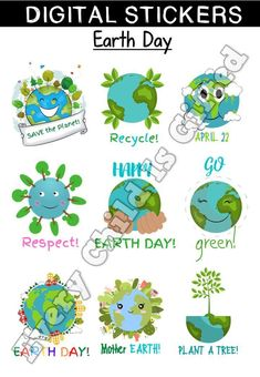 Here's a cute set of digital 'Earth Day' stickers to reward your student's work. Green Earth, Seesaw, Save The Planet, Earth Day, Student Work, Mother Earth, Kids Rugs, Stickers, Learning