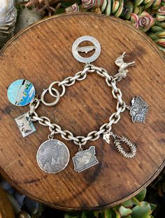 Vintage Sterling Silver Charm Bracelet with Over-Sized Charms