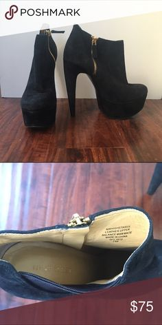 Nine West black suede platform booties These dramatic Nine West black suede ultra platform booties will take you to new heights. Accented with gold zipper hardware. Very easy to walk in with the platform under the sole. Gently worn. US size 7. Nine West Shoes Ankle Boots & Booties