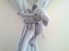 Elephant Curtain Tie Back, Crochet Elephant, Amigurumi, Tie-Back Elephant, Gray Elephant by MonoBlanco on Etsy https://www.etsy.com/listing/255509359/elephant-curtain-tie-back-crochet