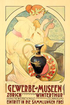Gewerbe Museen. ca. 1892 Artist: ABEGG Size: 28 3/8 x 42 3/8 in./72 x 107.7 cm Orell Fussli, Zurich A most beautiful Art Nouveau design advertising a Zurich-based arts and crafts museum.