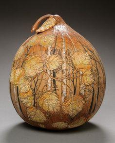 Lovely workmanship in this carved & painted gourd—artist, Marilyn Sunderland, Utah, US❣ marilynsunderlandstudio.com