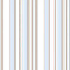 Papel de parede listrado azul bebê, bege e branco - PA8918