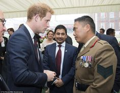 Prince Harry, who was made an honorary Gurkha by the fearsome Nepalese warriors he served with in Afghanistan, meets with serving and veteran Gurkha soldiers. The 30-year-old royal revealed to guests that he wanted to join the Gurkhas