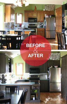 Update your kitchen cabinets with your perfect shade via a Rust-Oleum Cabinet Transformation kit. This kitchen looks amazing!