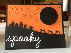 Spooky card from Dawn Block. Stampin' Up! Jingle All the Way stamp set, Sleigh Ride Edgelits and Seasonal Frame thinlets. Happy Halloween