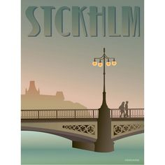 Vissevasse poster are stylish designs in soft pastel shades of well known places in Scandinavia, this is the  Vasabroen Bridge in Stockholm, very romantic