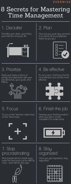 A essência para administrar bem o tempo: destralhe, planeje, priorize, seja eficaz, tenha foco, TERMINE o trabalho.