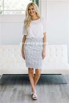 a4603cc783 Gray White Embroidery Pencil Fit Modest Skirt