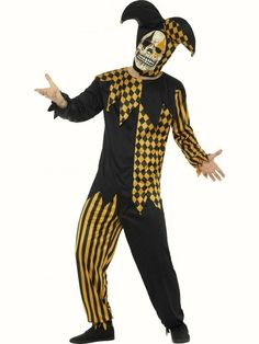 Buy your evil court jester costume from the Halloween Spot. It is available in black and gold colours with Top, Trousers, Headpiece and Latex Mask. Clown Party, Halloween Clown, Cartoon Halloween Costumes, Halloween Costume Accessories, Halloween Fancy Dress, Halloween Costumes For Girls, Halloween Horror, Pirate Costumes, Carnival Costumes