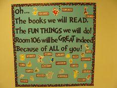Welcome+Back+To+School+Bulletin+Boards+Ideas | Elementary Dr Seuss Themed Back To School Bulletin Board Idea