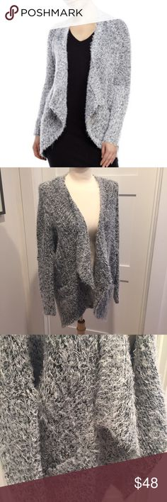 RD Style, fuzzy knit draped open front cardigan, S A beautiful fuzzy and warm cardigan in light gray and black. Very comfortable and warm like your favorite blanket. Kimono style sleeves, open drape front with front pockets,  tunic length. This was a Stitch Fix item. Size small will fit small medium in my opinion. RD Style Sweaters Cardigans
