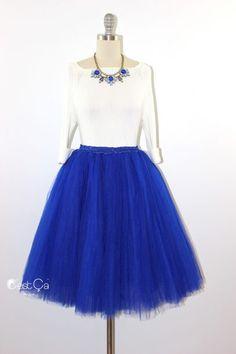 Clarisa Royal Blue Tulle Skirt – Midi