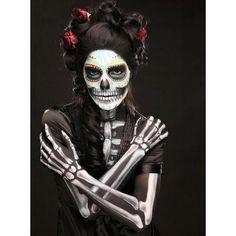 17 Amazing Día de los Muertos Sugar Skull Make-up Art ❤ liked on Polyvore featuring halloween, dia de los muertos, makeup, other and beauty