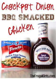 Crockpot Onion Smacked BBQ Chicken Recipe from TheFrugalGirls.com