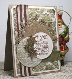 Handmade Christmas card by Rosemary using Peace on Earth and Holiday Treats from Verve.  #vervestamps