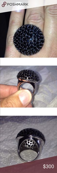 Black spinel party cocktail ring This is a 5.5 carat black spinel cocktail party or right hand ring set in 925 Sterling silver and comes in a size 7 Sparkles like black patent leather 😃 Jewelry Rings