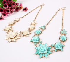 Stylish Alloy Chain Resin Flower Shape Necklace Choker Inlaid Drill Women Ladies Jewelry Necklace