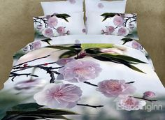 Fragrant Peach blossom Print 3D Duvet Cover Sets on sale, Buy Retail Price Floral Bedding Sets at Beddinginn.com