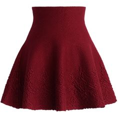 Chicwish Dance Around Emboss Skater Skirt in Wine (250 DKK) ❤ liked on Polyvore featuring skirts, bottoms, jupe, pants, red, skater skirt, circle skirts, red knee length skirt, flared skirt and red skater skirt