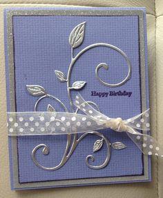 birthday card using aluminum from a pop can  - cut with die cut shape, cheery lynn designs