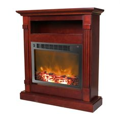 Cambridge CAM3437-1MAH Sienna Fireplace Mantel with Electronic #home decor sale & deals Finish:Mahogany Sienna Fireplace Mantel with Electronic Fireplace Insert Enjoy comfortable warmth anywhere in your home with the Cambridge Sienna full...