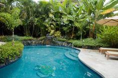 Kailua-Kona Big Island Hawaii Vacation Rentals - Waterfall Blue Pool, Beach close, Ocean View