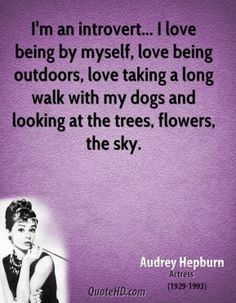 I'm an introvert... I love being by myself, love being outdoors, love taking a long walk with my dogs and looking at the trees, flowers, the sky.