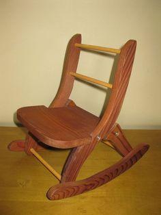 doll folding rocker   Vintage Wooden DOLL Rocking Chair folding chair by oakiesclaptrap, $14 ...