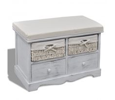 High Quality Wood Bench Shoes Stool with Drawers Cabinet Storage Living Room Furniture White Wooden Chest with Drawers / Baskets Wooden Storage Bench, Wooden Drawers, Wooden Chest, Storage Trunk, Stools With Drawers, Banquette Design, Estilo Country, Country Style, Lineup