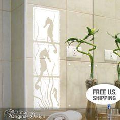 Seahorse and Seaweed Wall Art Decal for Bathroom or Beach Decor via Etsy