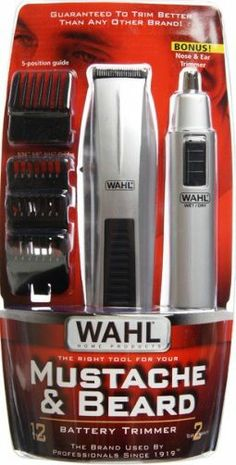 Wahl 5537-418 Mustache Beard Trimmer + BONUS Nose & Ear Trimmer, 12-piece beard and mustache trimmer, Five-position guide, Requires three (3) AA batteries (not included), Bonus ear, nose and brow trimmer (5537418 5537 418)