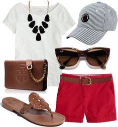 Cute summer outfit! Red, white, black, & brown